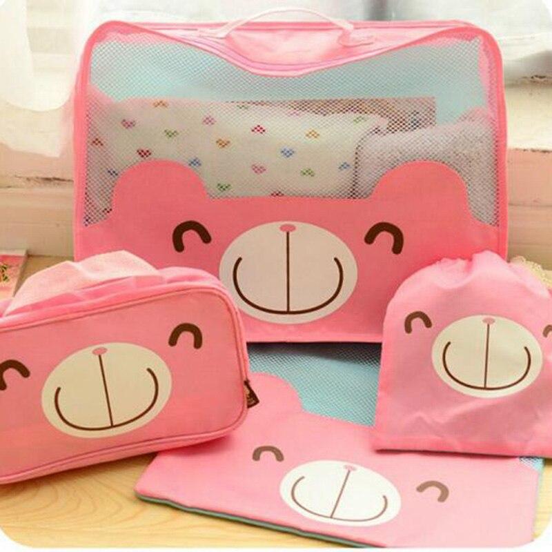 4pcs/set Storage Bags Cute Business Travel Cosmetic Toiletry Kits Waterproof Bag Travel Set Home Storage & Organization C7