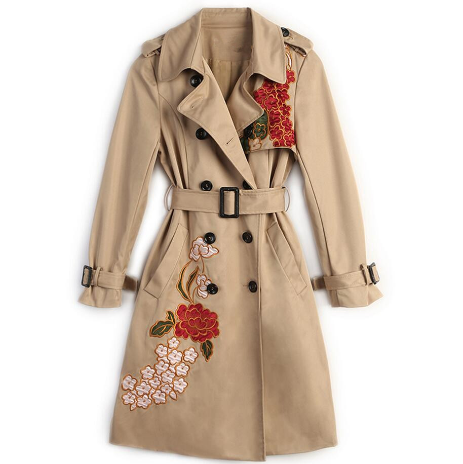 2018 Hot Sale Woman Windbreaker Floral Embroidered Trench Coat Double breasted classic Trench Coat with belt s1192