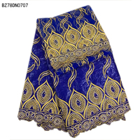 African Bazin Riche Fabric/Bazin Riche Getzner With Headtie Embroidered Nigerian Wedding Dress Women Fabrics New Design BZ78DN07