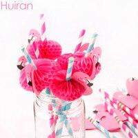 Huiran 赤フラミンゴ紙ストロー誕生日結婚式ベビーシャワーパーティーの装飾子供好意ジャングルパーティー用品