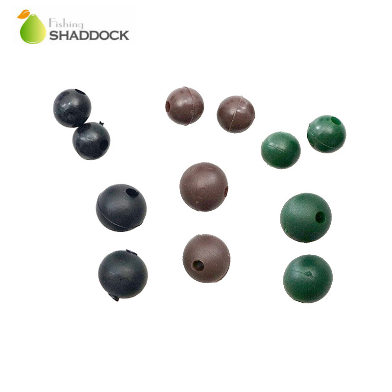 Shaddock Fishing 50pcs Soft Carp Fishing Beads Thermal Plastic Rubber Dark Grey Round Floating Rig Beads Carp Fishing Tackls