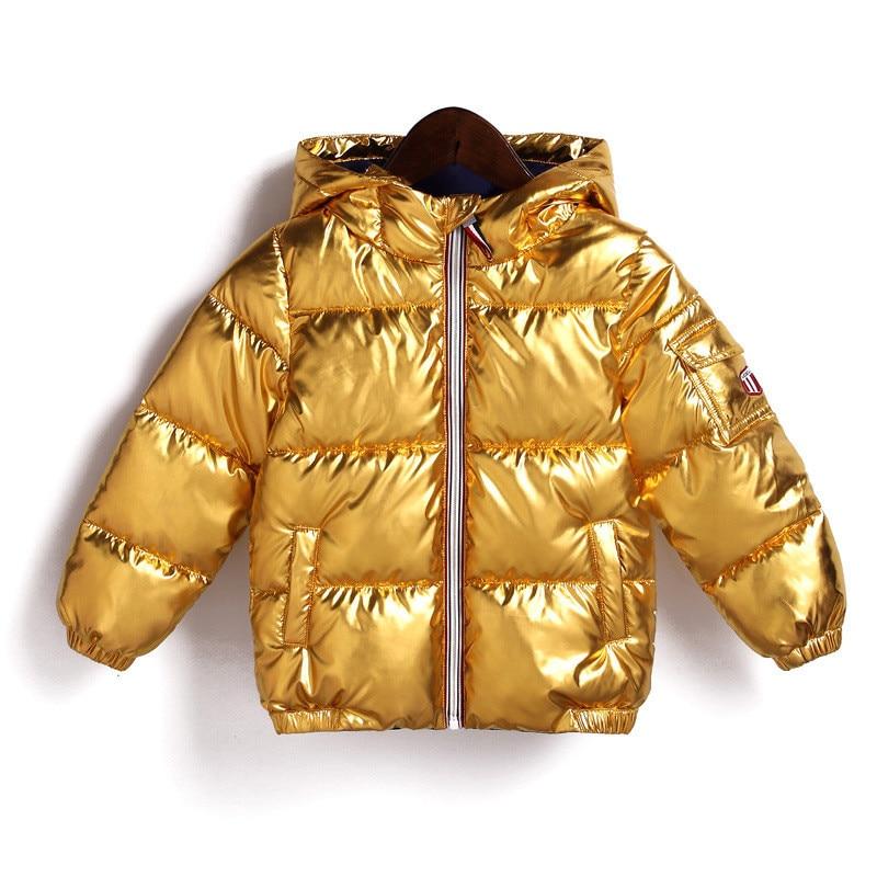 2018 Kinder Winter Jacke Für Kinder Mädchen Silber Gold Jungen Casual Mit Kapuze Mantel Baby Kleidung Outwear Kinder Parka Jacke Schneeanzug Perfekte Verarbeitung