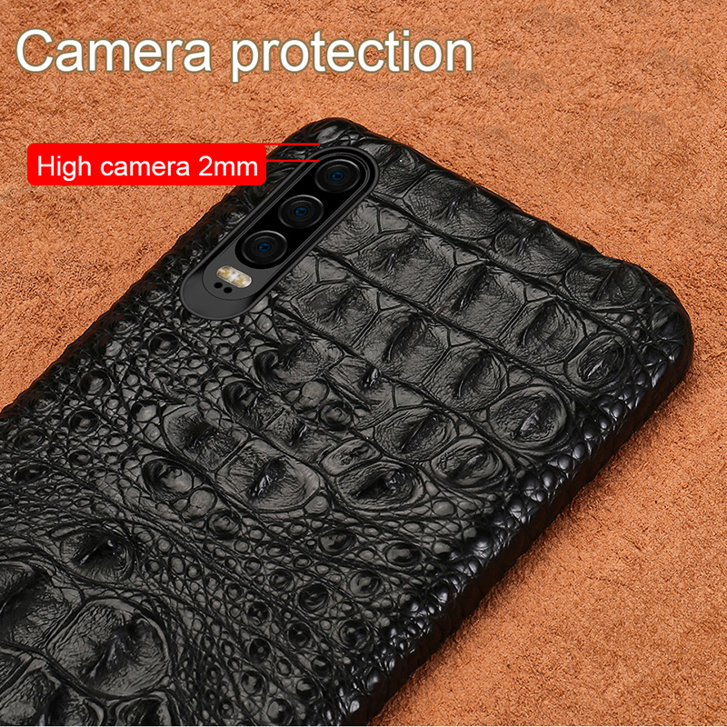 100 Genuine Crocodile Leather Phone case For Huawei p30 Mate 20 P20 Pro Lite Y9 Luxury Cover for Honor 8C 20 Pro 10 Lite 8X 9X in Half wrapped Cases from Cellphones Telecommunications