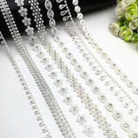 1 yard Rhinestone Chain Pearl Crystal Chain Sew On Trims Wedding Dress Costume Applique #ZL01-25