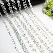 1 yard Rhinestone Chain Pearl Crystal Chain Sew On Trims Wedding Dress  Costume Applique  ZL01 28d07f7bbb78