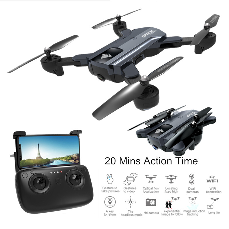 <font><b>F196</b></font> Foldable Drone with Camera Optical Flow Me Quadrocopter Dron 20Mins Action Time RC Quadcopter with Camera 2MP HD VS XS809S image