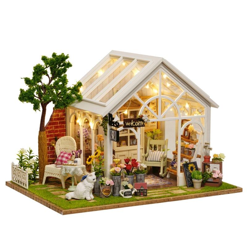 Soleil serre fleur magasin bricolage maison de poupée avec couverture de musique lumière 3D en bois Miniature maison de poupée meubles assembler jouets cadeau