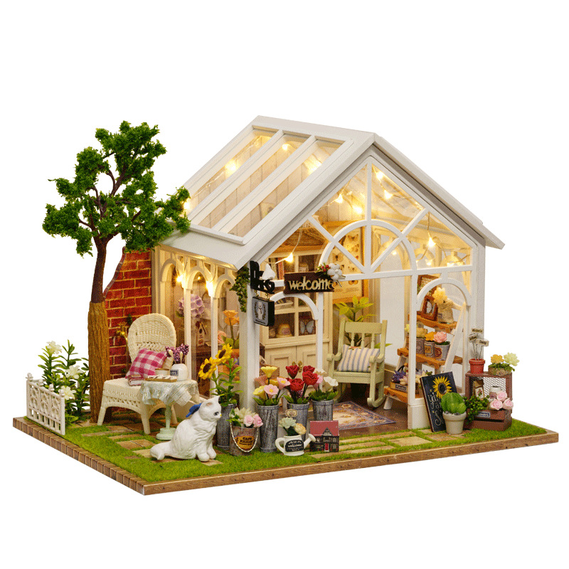 Sunshine Greenhouse Flower Shop DIY Dollhouse With Music Cover Light 3D Wooden Miniature Doll House Furniture Assemble Toys Gift mr16 7w 530lm 3300k 14 5730 smd led warm white light bulb lamp 12v