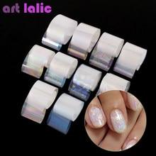 10 Rolls / Box Holographic Nail Foil Set 2.5*100cm Gradient Transparent AB Color Transfer Sticker Manicure Nail Art Decals