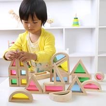 Montessori Wooden Rainbow Building Blocks 24PCS Toys Children 6 Shape 4 Translucent Colours Brinquedo Oyuncak Brinquedos
