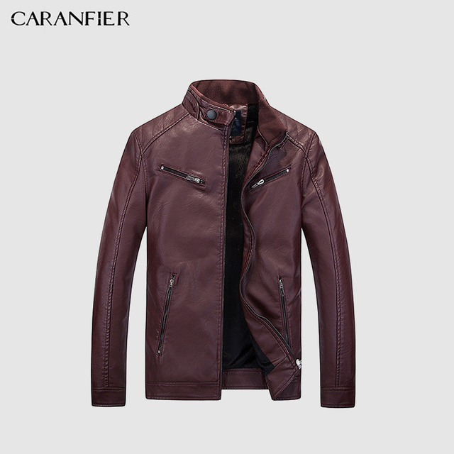 6980ac6b0b8 CARANFIER Mens Leather Jackets Autumn Winter Coats Men Plus Velvet Simple  Faux PU Outerwear Biker Motorcycle Male Punk Jacket-in Faux Leather Coats  from ...