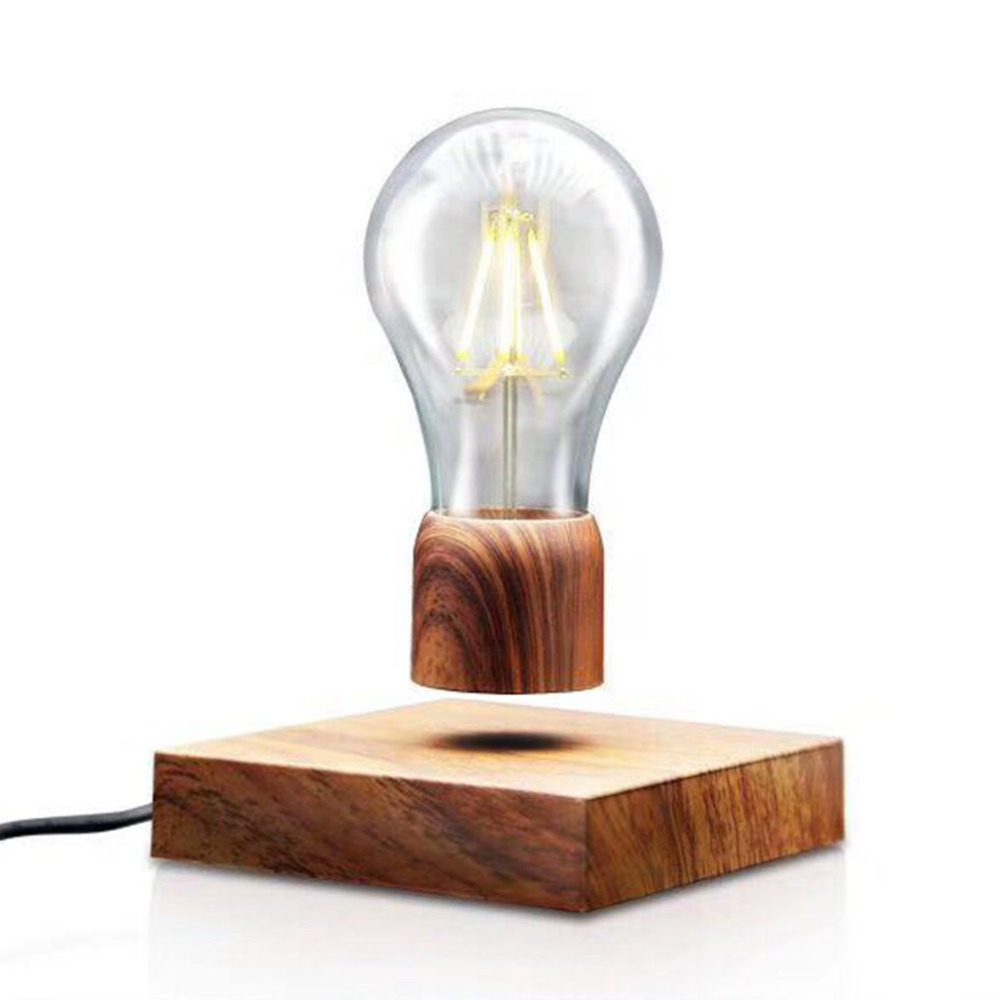 2018 NEW Magnetic Levitating Light Bulb Desk Wood Grain Floating Lamp Unique Gift Home Office Room Small Night Light Decoration novelty magnetic floating lighting bulb night light wood color base led lamp home decoration for living room bedroom desk lamp