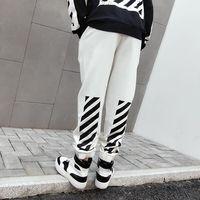 ZK Letter Printed Off Harajuku White Black Mens Sweatpants Streetwear Mens Hip Hop Casual Streetwear Couple Wear Trousers Pants