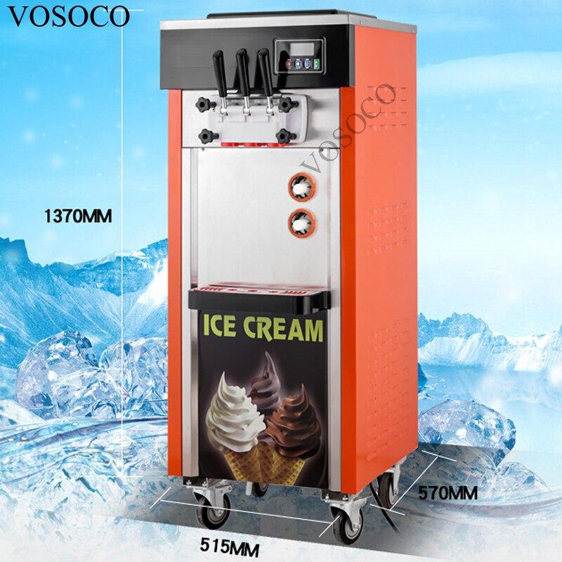 VOSOCO Ice cream machine Stainless steel 3 flavors soft ice cream cone machine SANYO GREE compressor 1800W 25L/H ice cream maker