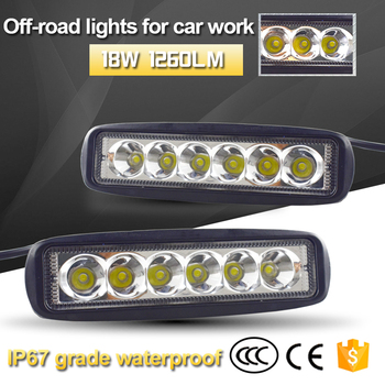 10pcs 6 Inch 18W LED Work Light Bar 10-30v for Indicators Motorcycle Driving Offroad Boat Car Tractor Truck 4x4 SUV ATV