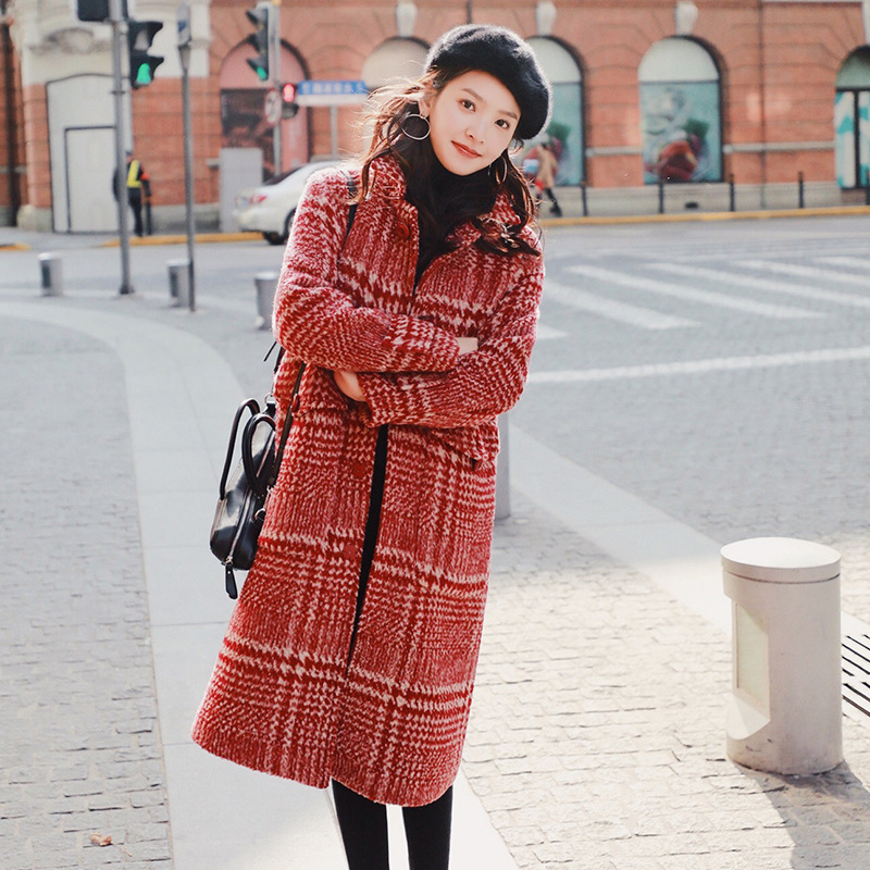 down Manteaux Veste Et D'hiver À Manteau Turn Plaid Collar Rouge Large Poitrine De Unique Taille Vintage Longue Laine Dames O1WAPqXW4H