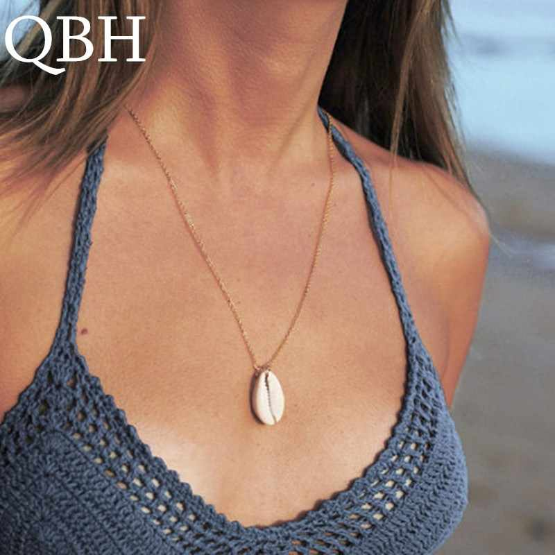 NK1020 Minimalist Seashell Natural Shell Pendant Necklace Simple Ocean Beach Conch Clavicle Necklaces for Women Punk Chain Colar