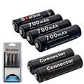 4 pcs soshine 3.2 v lifepo4 bateria pilas recargables aa 14500 bateria com caixa de bateria e os conectores