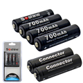 4 unids recargables soshine 3.2 v lifepo4 batería aa 14500 pilas de batería con la caja de batería y conectores