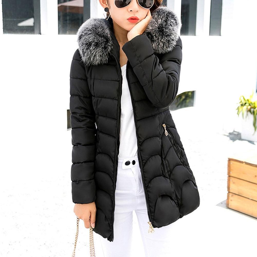 5346e81e9a76 rose À De La Chaud Et Rouge Plus Capuchon Noir Femme Fourrure Outwear  Taille Coton Mince rouge D hiver Manteau Femelle Long ...