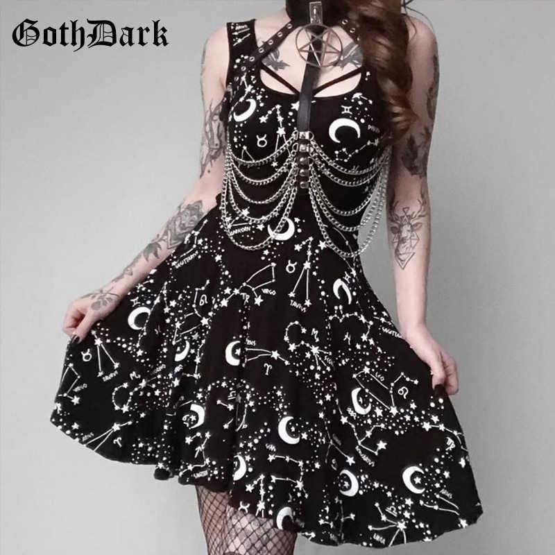 Женское платье без рукавов Goth Dark, сексуальное вечернее платье в стиле Харадзюку, готическое черное летнее платье, 2019