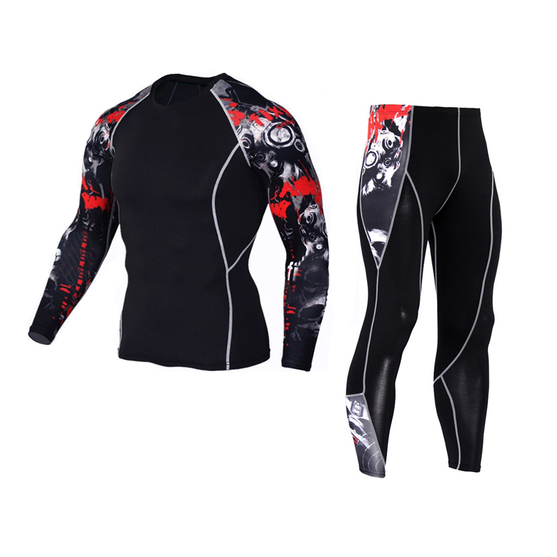 rash guard  Leggings men's sports suit Compression fitness sportswear crossfit long sleeve t shirt men set MMA Clothing parkour