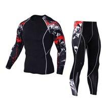 rash guard Leggings men s sports suit Compression font b fitness b font sportswear crossfit long