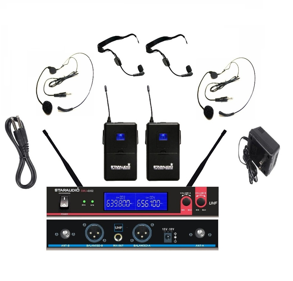 STARAUDIO SMU-0202B Pro 2 Channel Wireless Dual UHF Headset  Microphones  Mic System for PA DJ Church Stage Show