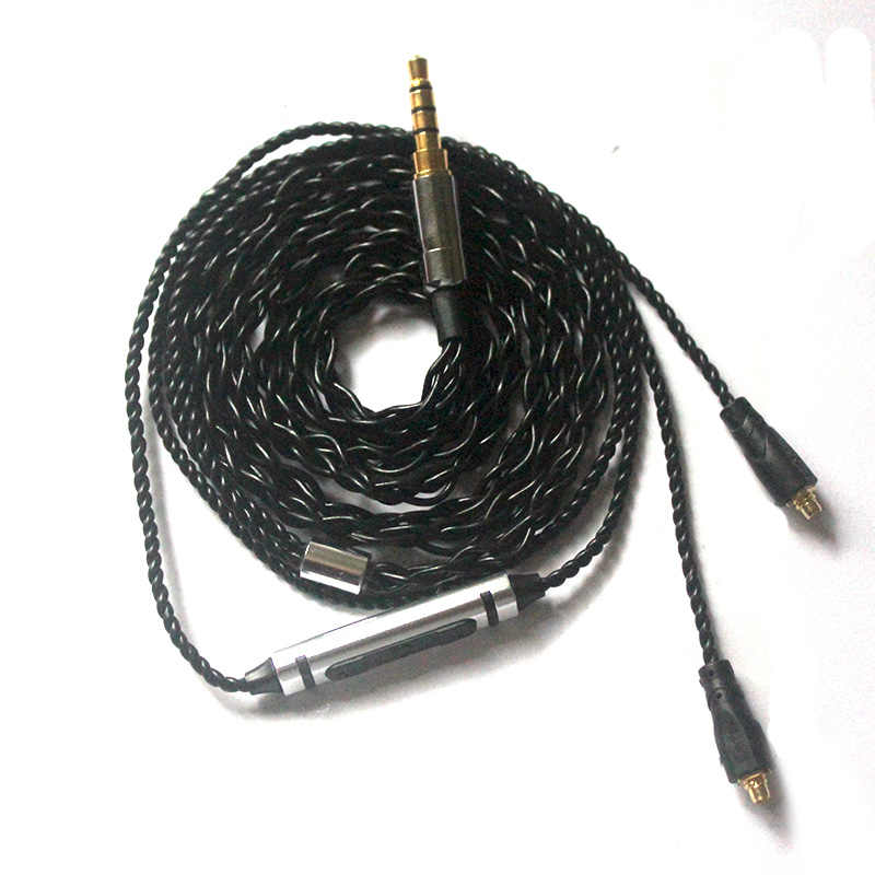 Pizen S38 sadzone srebrny kabel do słuchawek Mmcx kabel do Shure se846 se215 se535 senfer DT6 4IN1 LZ z mikrofonem