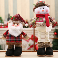 Best price New 1PC Christmas doll Snowman Santa Claus with Telescopic Rod Manual Cloth Red Decor