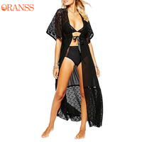 Summer Beach Dress Women Chiffon Soft Transparent Fast Dry Beach Dress Female Beach Solid Cardigan Half