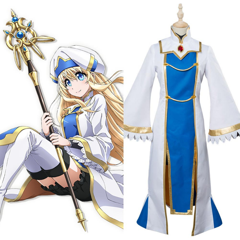 Goblin Slayer Onna Shinkan Cosplay Costume Priestess Perucas Uniform Outfit Hat Suit Coat
