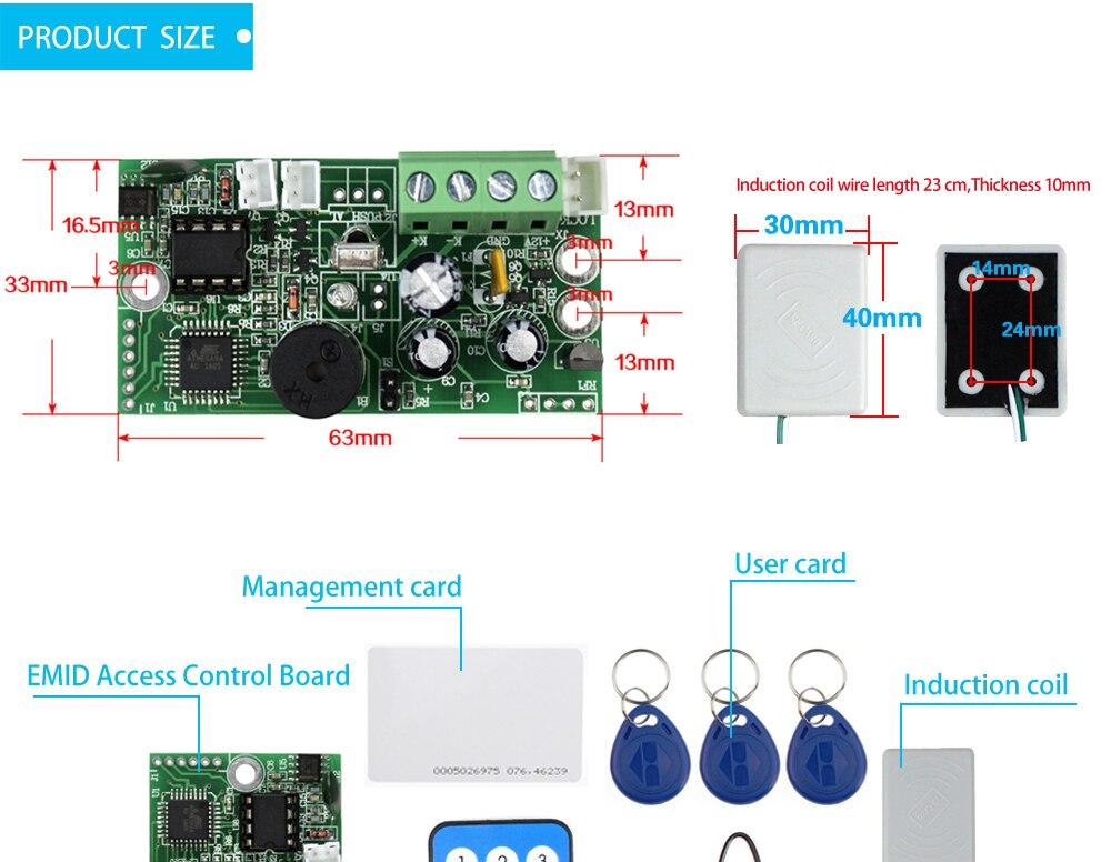 HTB1nKn8XUzrK1RjSspmq6AOdFXa3 EMID Access Control Board 125KHZ RFID Embedded control board DC12V Normally closed control board