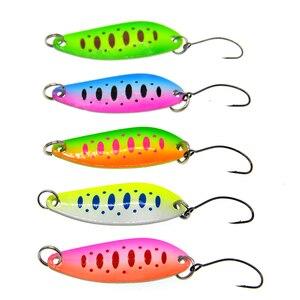 Image 1 - Lote de 5 unidades de cebos de pesca, aparejos de pesca de 5g y 4cm, cuchara metálica de pesca, señuelo para trucha, cucharas de lubina, cuchara de lentejuelas giratorias duras pequeñas