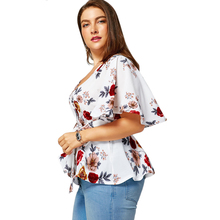 Plus Size Floral Belted Peplum Chiffon Blouse for Women