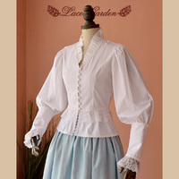 Elegant Retro White Blouse Women S Long Puff Sleeve Victorian Shirt By Lace Garden