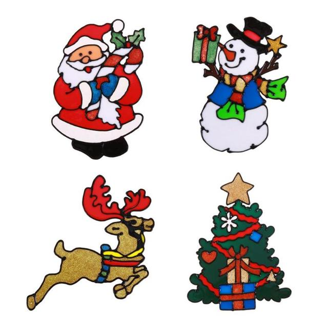 Christmas Silicone Glass Stickers Large Window Door Wall Pasted Xmas Ornaments Decor Christmas New Year Decorations