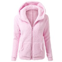 2017 Women Autumn Spring Winter Fleece Hooded Hoodie Sweatshirt Flannel Velvet Casual Hoody Zipper Outwear Coat