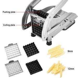 Image 3 - LMETJMA fransız Fry kesici 2 bıçaklı paslanmaz çelik patates dilimleme kesici Chopper patates parçalayıcı salatalık havuç KC0213