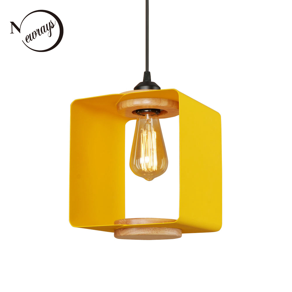 Country retro square iron pendant light LED E27 modern industrial hanging lamp with 4 colors for cottage parlor bedroom shop bar|Pendant Lights| |  - title=