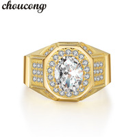 Choucong Classic Men Jewelry Ring Oval Cut 2ct 5A Zircon Cz Yellow Gold Filled Male Emgagement