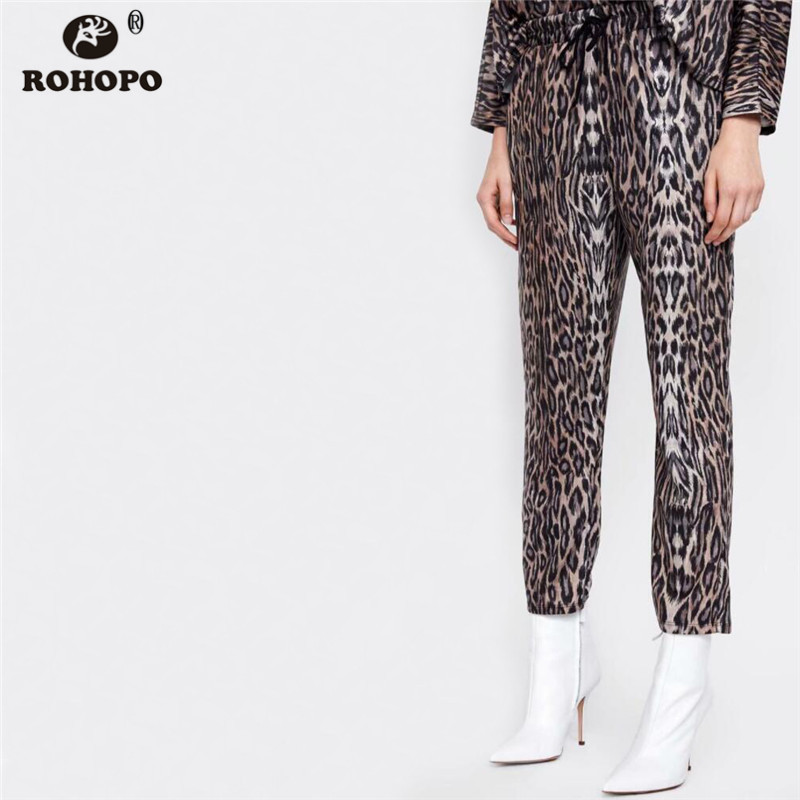 ROHOPO Women Leopard Pencil Pant Autumn Ladies Streetwear Ankle Length Casual Sexy Bottoms #OYK8682