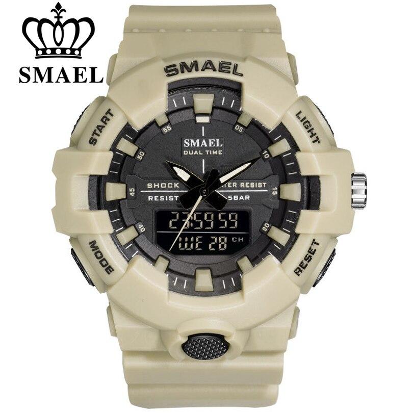 SMAEL doble pantalla relojes hombres lujo Digital-reloj cronógrafo militar analógico cuarzo reloj deportivo LED reloj Dropshipping