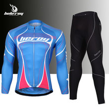 Fashiona man Outdoor Sport Cycling Clothing Set Breathable Men Sportswear Bicycle Bike Long Sleeve Jersey + 3D Padded Bib Pants