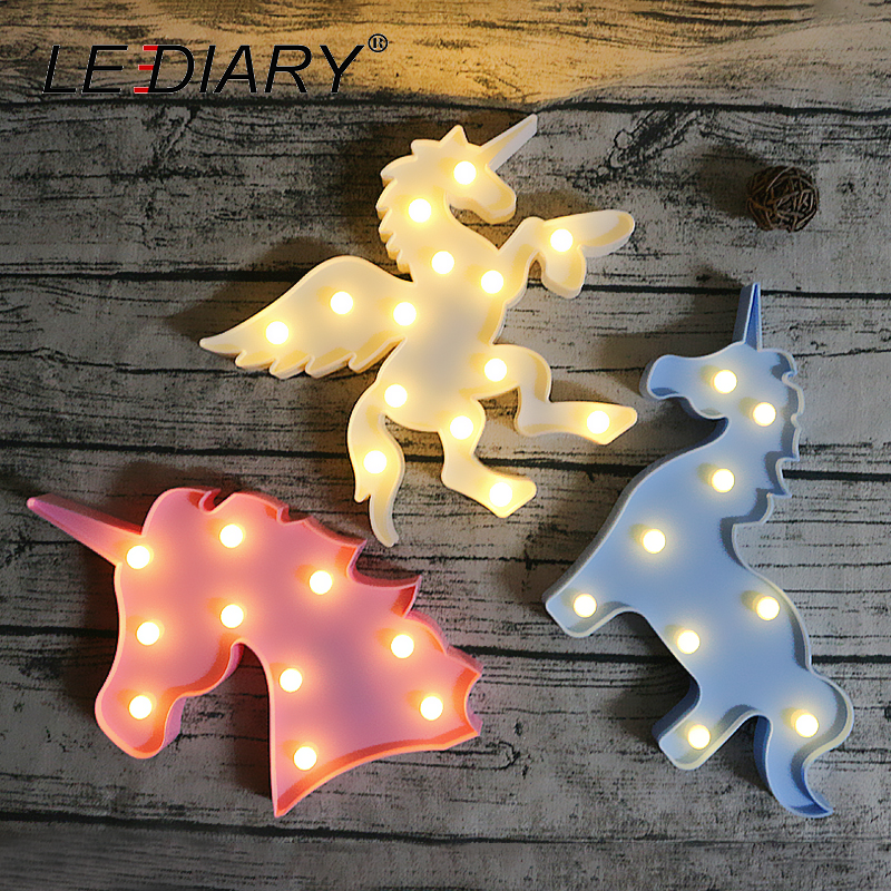 Us 8 81 48 Off Lediary Multicolor Unicorn Horse Night Lights Led Animal Kids Toy Desk Bedside Lamp Holiday Home Decoration Lighting Fixtures In