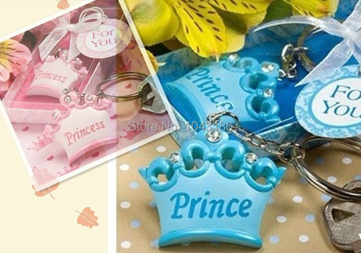 free shipping baby shower favor party gift for guestpink or blue crown themed princess keychain favor wedding favor giveaways