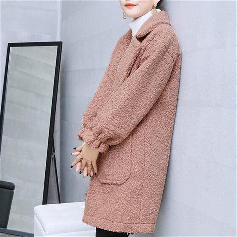 Lâche Femmes Long Cardigans K0034 Black Automne 2018 Épaississent Hiver Agneau Chaud Occasionnel Laine Veste Imitation pink Manteau SwgAqw4