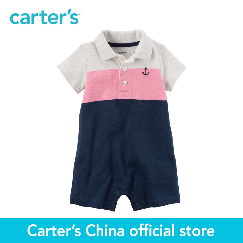 Carter's 1pcs baby children kids Colorblock Piqu Polo Romper 118H016,sold by Carter's China official store  carter s 1 pcs baby children kids long sleeve embroidered lace tee 253g688 sold by carter s china official store