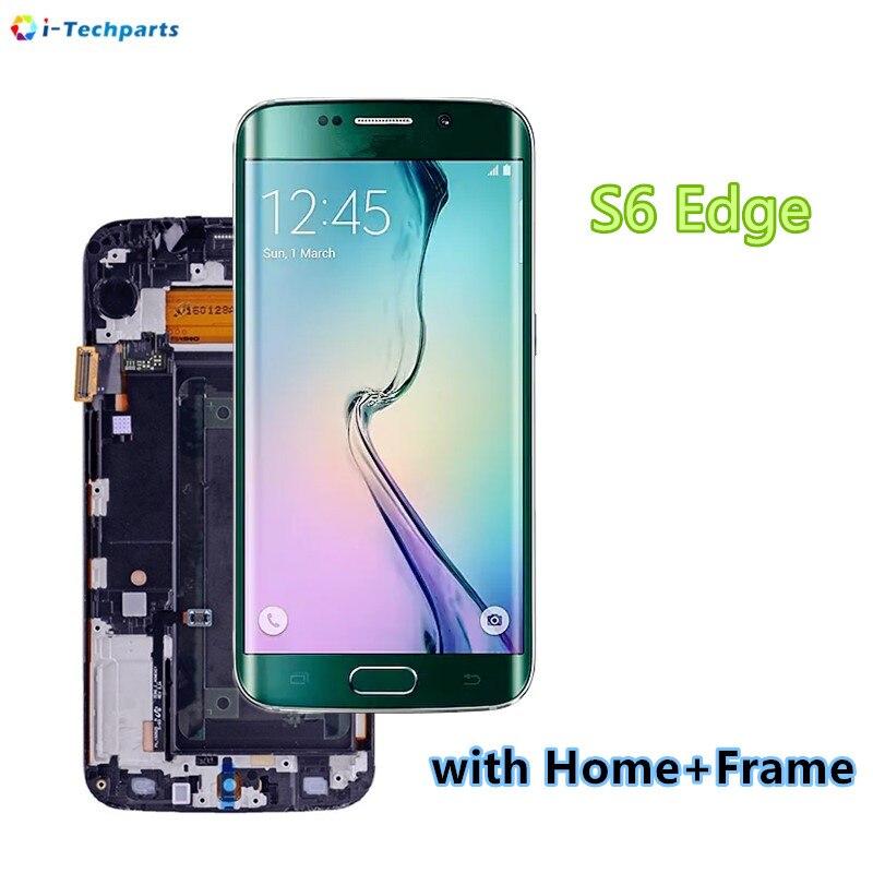 Pièces de rechange pour Samsung Galaxy S6 Bord SM-G925 Affichage Écran LCD et Digitizer Assemblée G925f G925i G925v G9250, Vert