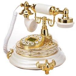 Europeu antigo telefone landine clássico branco vintage telefone telefon fixo feito de resina escritório em casa sala estar